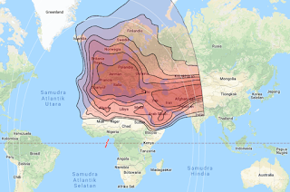 Beam Coverage Satellite Eutelsat 3B 3.1°E KU Band