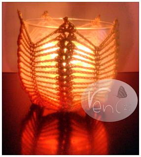 świecznik szydełkowy
