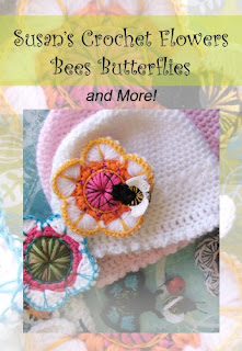 Susan's pattern set includes step-by-step photos and detailed instructions for darling flowers, buzzy bees and this single crochet baby hat