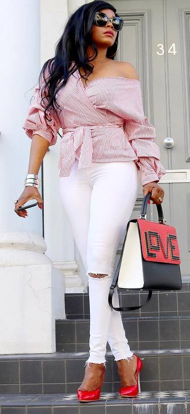 beautiful outfit idea / one shoulder blouse + bag + white rips + heels
