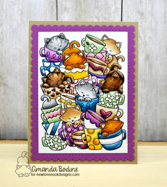 Cat and Coffee Card by Amanda Bodine | Caffeinated Cats Stamp Set and Frames & Flags Die Set by Newton's Nook Designs #newtonsnook #handmade