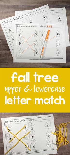 FREE Fall Leaf Uppercase Letter & Lowercase Letter Match is a fun way for Preschool, prek, and kindergarten age kids to practice alphabet letters