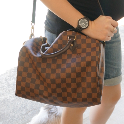 AwayFromTheBlue | Louis Vuitton Damier Ebene 30 speedy bandouliere JORD black fieldcrest wood watch