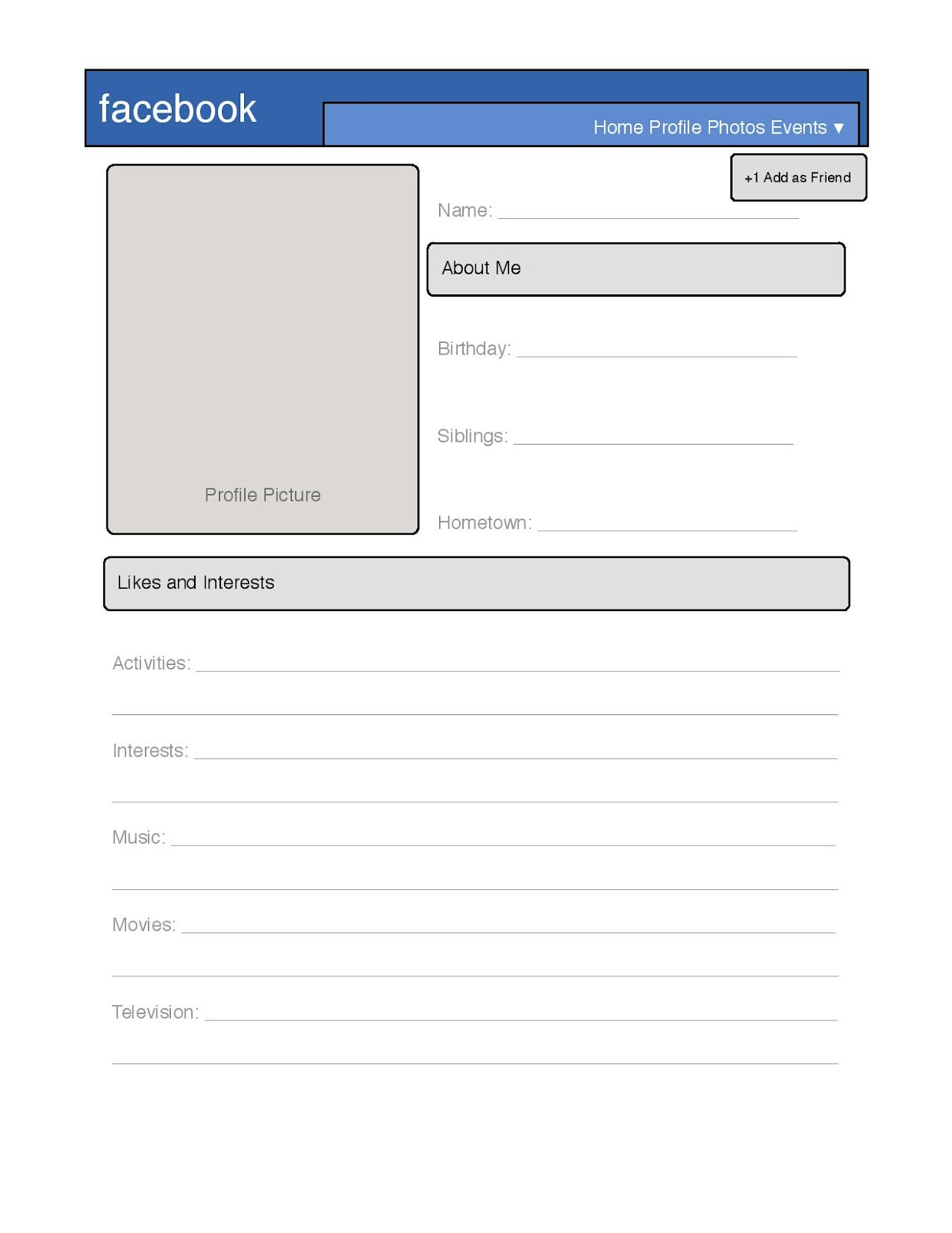 Blank Facebook Profile Template Worksheet Images