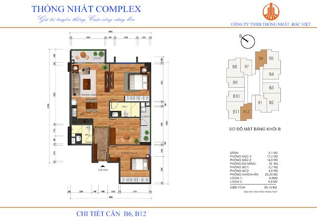 Thiết kế căn B6 - B12 tòa B chung cư Thống Nhất Complex