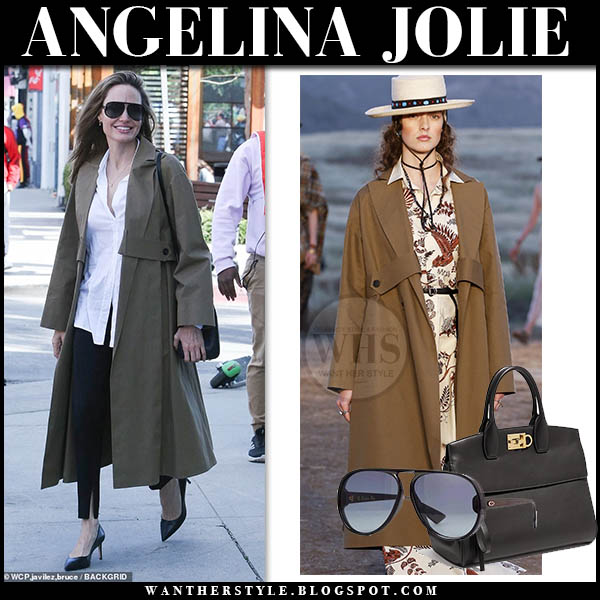 Angelina Jolie wears khaki trench Dior coat, white shirt and black Dior DiorLia sunglasses with black Ferragamo tote for a shopping day in Los Angeles February 2019