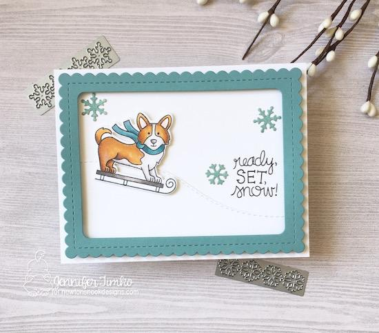 Corgi dog on sled | Card by Jennifer Timko | Winter Woofs Dog Stamp set and Frames & Flags Die Set by Newton's Nook Designs #newtonsnook