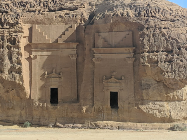 Visiting the tombs at Mada'in Saleh, Saudi Arabia