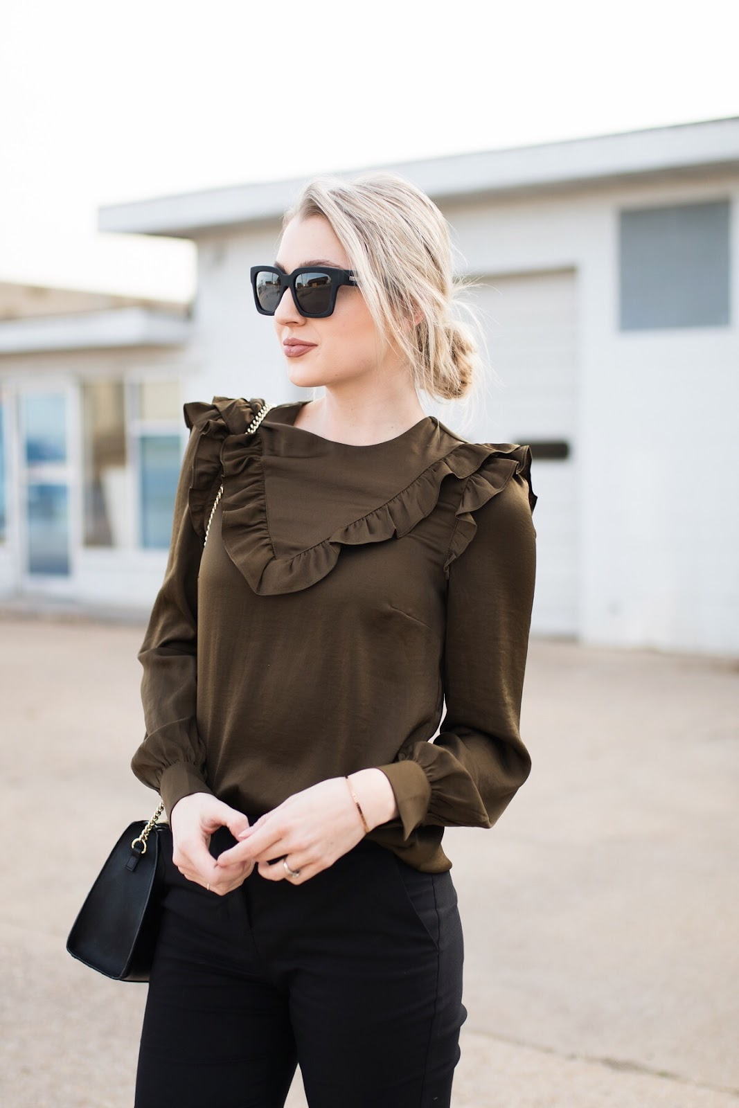 Satin ruffled top for the office