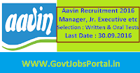 Aavin Recruitment 2016 for Manager, Junior Executive etc Posts Apply Here
