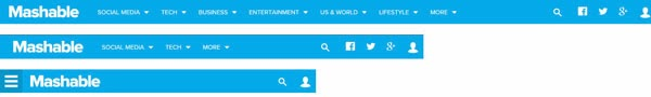 Barra de navegación de la web Mashable vista a tres resoluciones. A medida que la resolución es menor hay menos contenido en la misma.