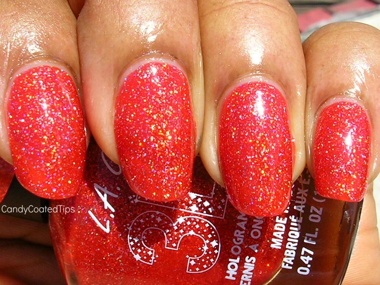 L A Girl Electric Coral Orange Holo Holographic Glitter Shimmer Nail Polish Ebay