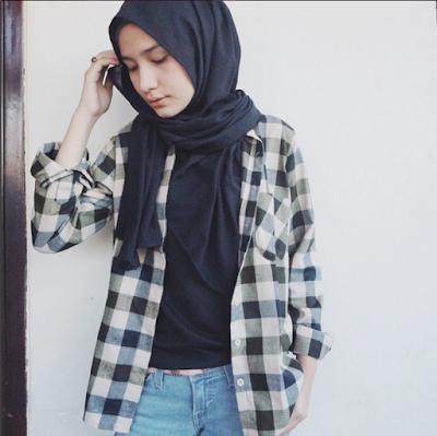 style kemeja flanel wanita hijab masa kini