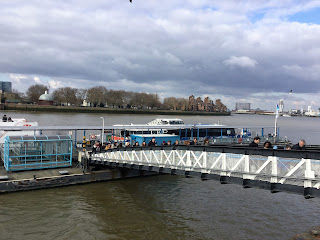 Pic of passengers disembarking from ferry in Greenwich