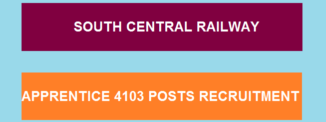 South Central Railway Recruitment 2018 | 4103 Apprentice Posts,10TH Pass Can Apply Now
