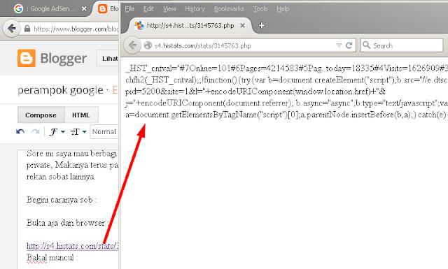 Cara melihat histats blog yang dikunci