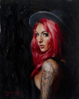 Chris Guest pinturas retratos mulheres tatuadas pin-ups tatuagem sensuais fortes