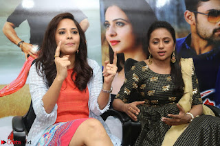 Actress Suma in Black Salwar Suit and Anusuya in orange Dress at winner movie press meet part 2 February 2017 (47).JPG