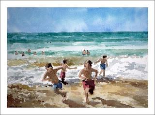 Niños en la playa, acuarela