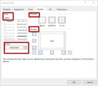 Cara Mengganti warna garis tabel pada Excel