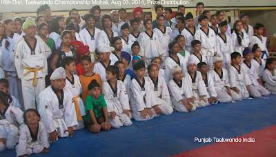Winner players in a Group Photo after Prize Distribution at 18th District Taekwondo Championship, Mohali near Chandigarh, Punjab, with the Chief Guest, other Guest of Honour personalities & Master Satpal Singh Rehal