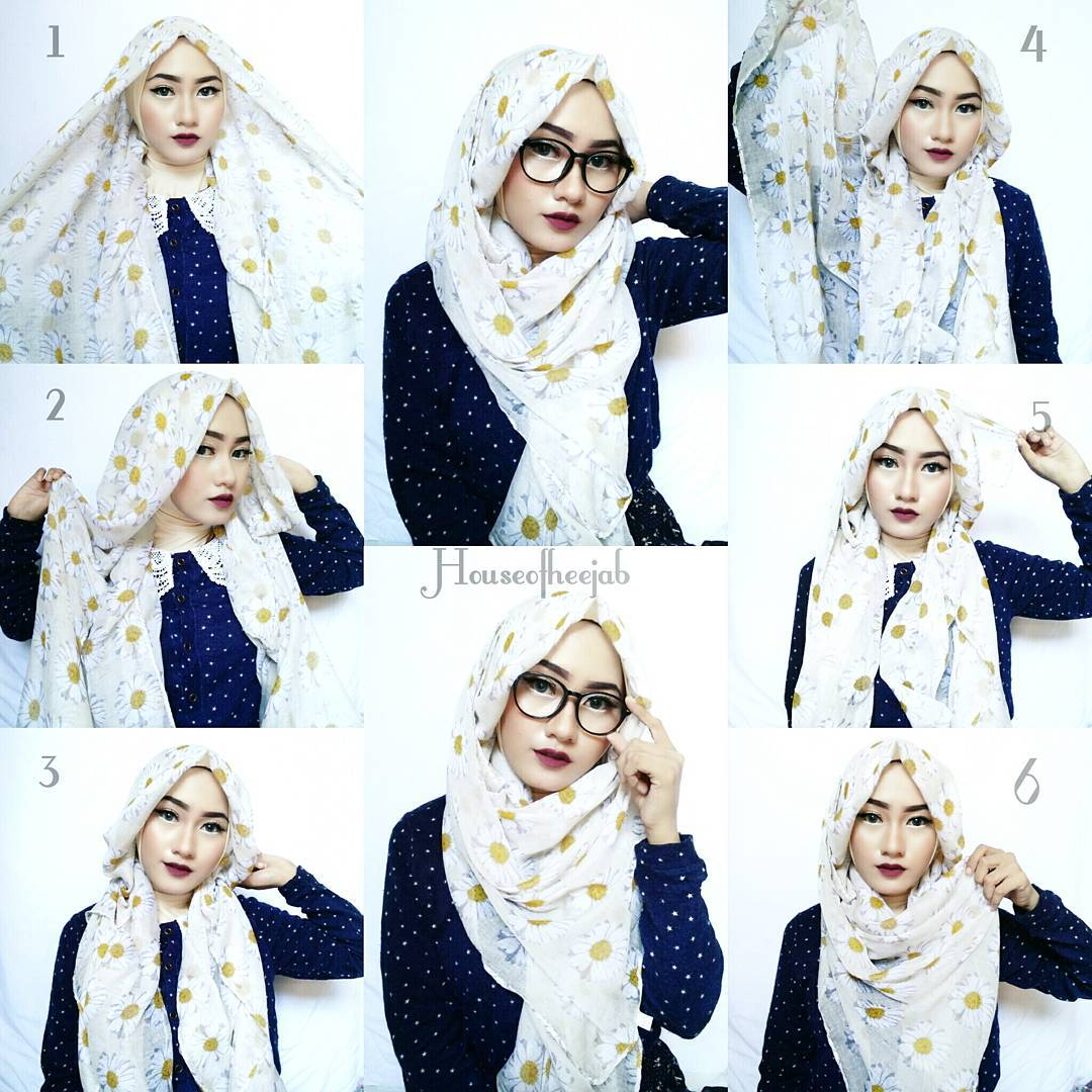 Tutorial Hijab Pashmina Denim Simple