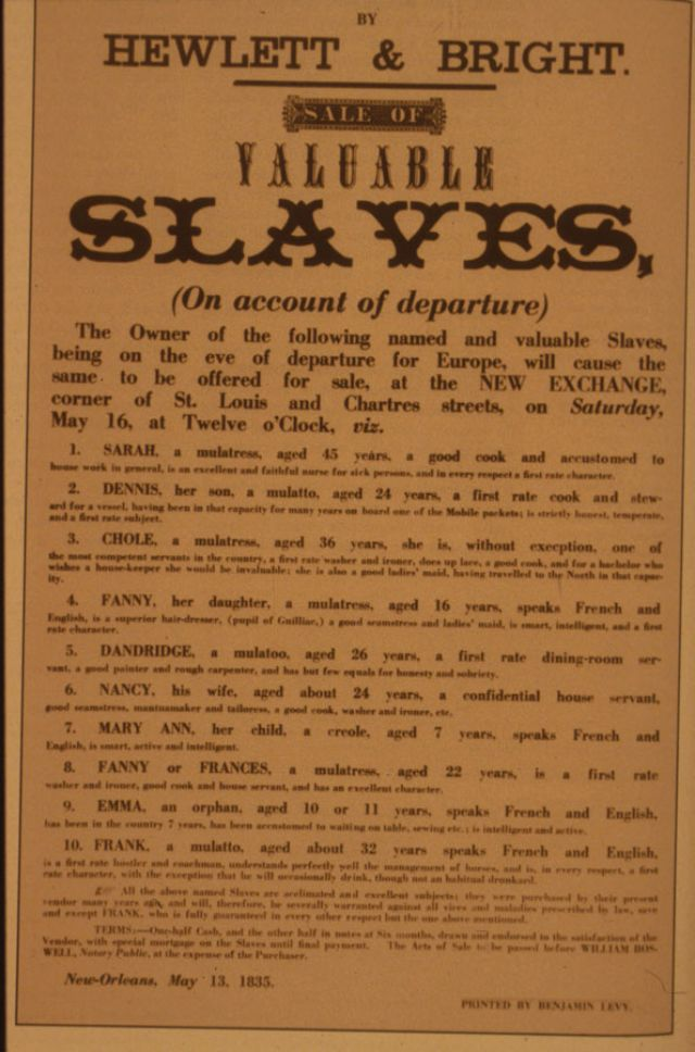unbelievable american slave sale and auction ads from the