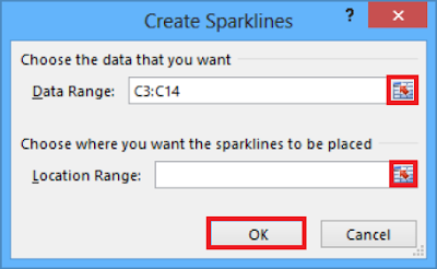 Create Line Sparkline dialogue