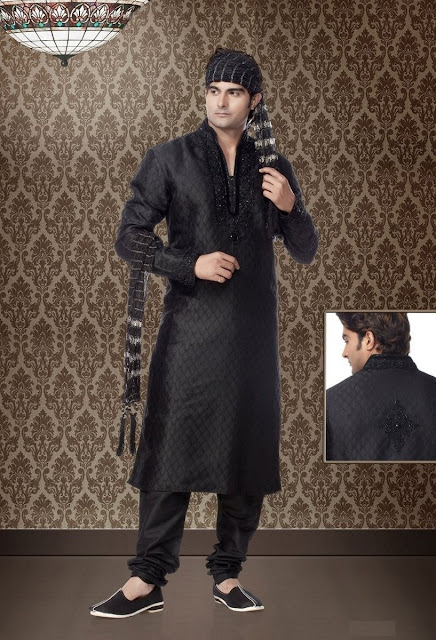 Silver & Black Art Silk Kurta Pajama For Eid wear