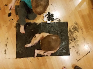 kids black painting