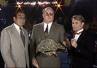 WCW Great American Bash 1992 -Tony Schiavone with Cowboy Bill Watts and Hiro Matsuda