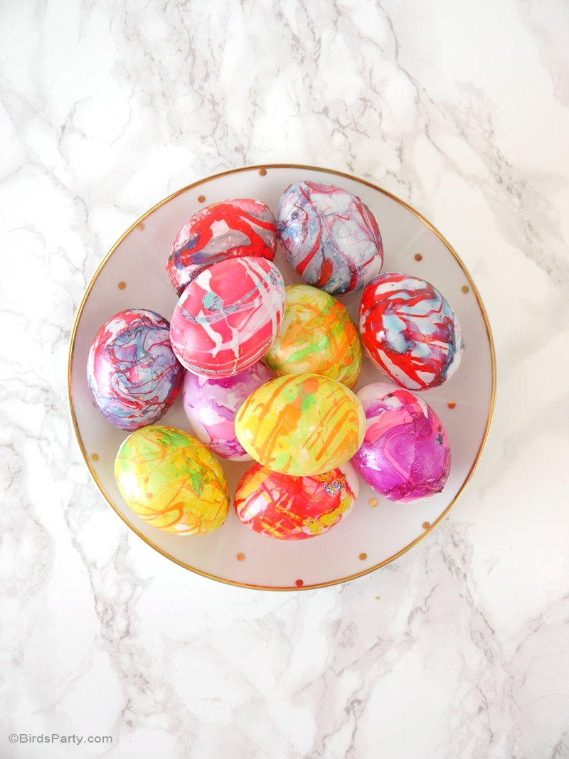 Diy Nail Polish Marbled Easter Eggs Party Ideas Party Printables