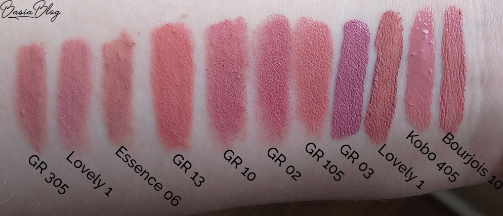 nude lipstick swatch, pomadki w kredce, kredki do ust, konturówki do ust, pomadki w płynie, pomadki zastygające, matowe pomadki w płynie, pomadki w sztyfcie, pomadki nude, nudziaki, pomadki brudny róż, szminki na co dzień, szminki do pracy, szminki do szkoły, eleganckie pomadki, delikatne odcienie pomadek, różowa pomadka, Golden Rose Classics Waterproof Lipliner 305, Lovely Perfect Line 1, Essence Lipliner 06 Satin Mauve, Golden Rose Matte Lipstick Crayon 13, Golden Rose Matte Lipstick Crayon 10, Golden Rose Velvet Matte Lipstick 02, Golden Rose Vision Lipstick 105, Golden Rose Longstay Liquid Matte Lipstick 03, Lovely Extra Lasting nr 1, Kobo Matte Liquid Lipstick 405 passiflora tea, Bourjois Rouge Edition Velvet 10 Don't pink of it