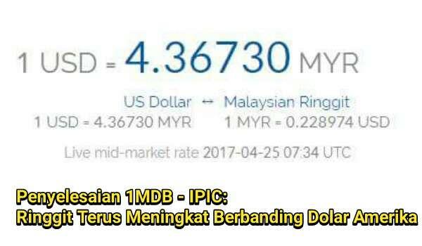 Penyelesaian 1MDB - IPIC: Ringgit Terus Mengukuh Berbanding Dolar Amerika