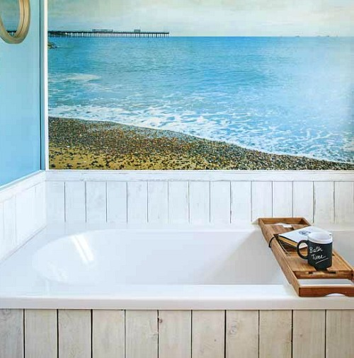 Coastal wall treatment ideas for the bathroom murals for Beach themed mural