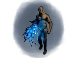 concept art,sci-fi,concept, crystal man,character design,douglas deri