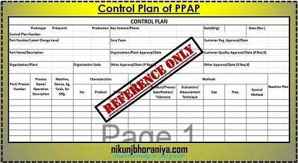 Control Plan in PPAP (Production Part Approval Process)