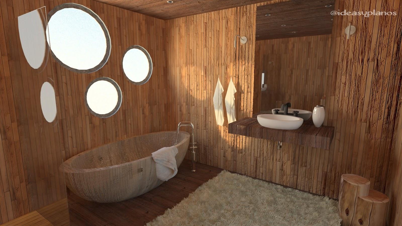Ba os con madera un material cl sico en un ambiente moderno for Amueblar bano
