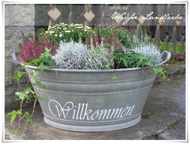 Wei e landliebe herbstbepflanzung einen sch ne alte truhe for Blumentopf dekorieren anleitung