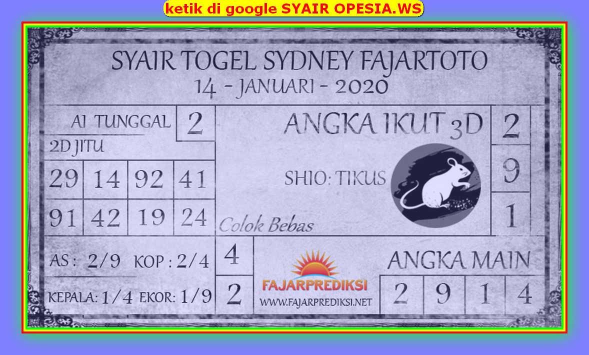Kode syair Sydney Selasa 14 Januari 2020 134