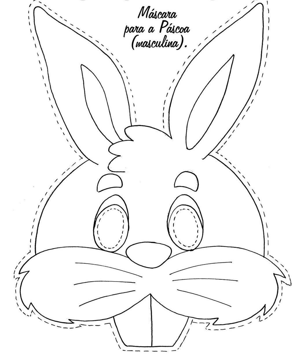 Máscaras de coelho de páscoa para imprimir COLORIDAS E