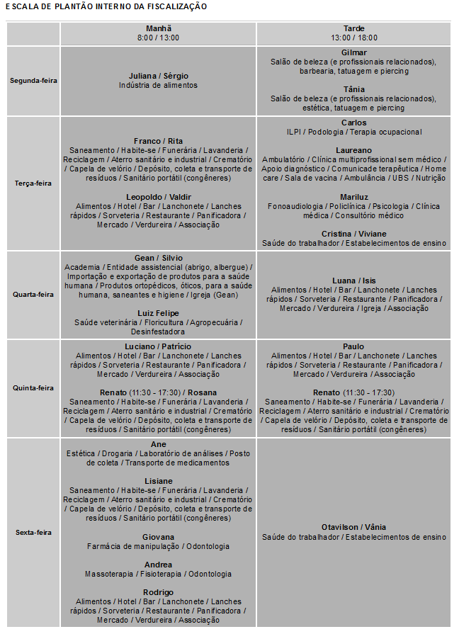 Escala de plantão interno da fiscalização (link externo)