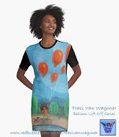 Balloon Lift Off Graphic Tshirt Dress from Redbubble, art by Traci Van Wagoner