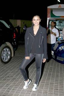 Alia Bhatt in Black Leggings and Jacket Cute Pics
