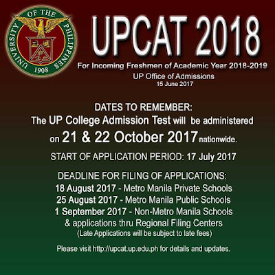UPCAT 2018 schedule, deadline of filing, and list of requirements