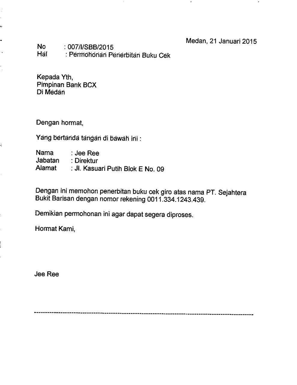 Contoh Surat Permohonan Pengaktifan Rekening Bank Mandiri Cuitan