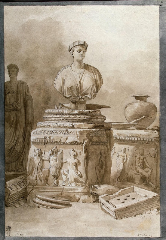 Marble Bust of Ceres, a Pedestal and Fragments of Classical Architecture by Jean-Pierre-Laurent Houel - Architecture Drawings from Hermitage Museum