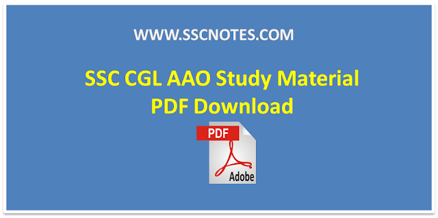 SSC CGL AAO Study Material for Exams PDF Download