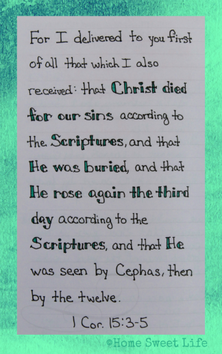 Scripture Writing, 1 Corinthians 15:3-5