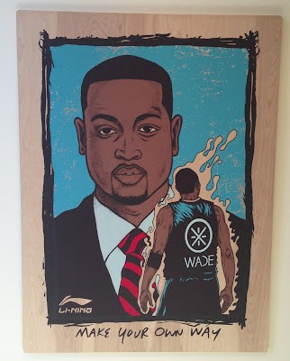 "Dwyane Wade x Li-Ning ""Way of Wade"" NBA 2013 All-Star Weekend Mixed Media on Wood Panel by Jermaine Rogers"